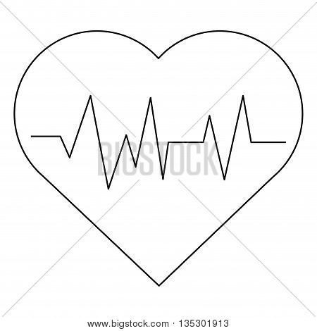 simple black line cartoon heart with pulse line inside vector illustration