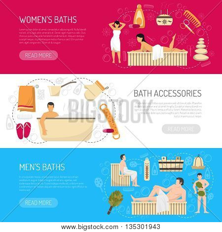 Public bath house sauna website page 3 horizontal banners with accessories and information abstract isolated vector illustration