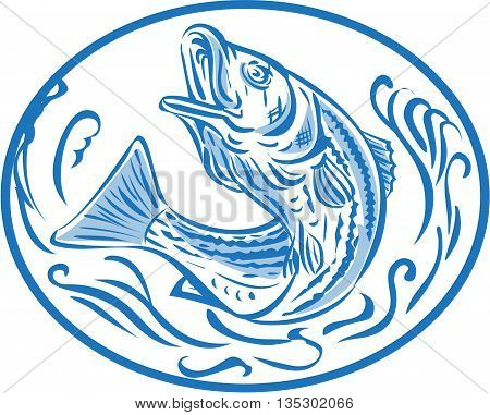 Drawing sketch style illustratoin of a rockfish also called striped bass Morone saxatilis Atlantic striped bass striper linesider pimpfish or rock jumping up set inside oval shape.