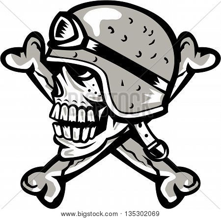 Illustration of a skull looking to the side wearing bike helmet with bones at the back set on isolated white background done in retro style.