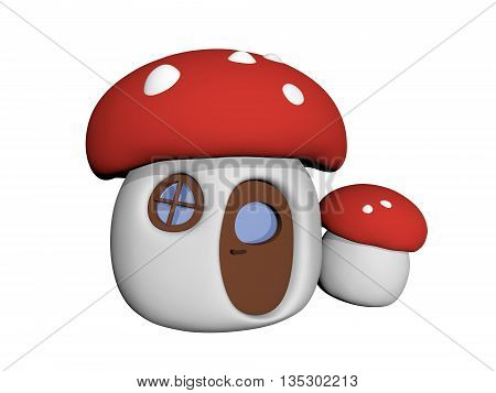 Mushroom house in cartoon style. 3D computed illustration. Isolated.