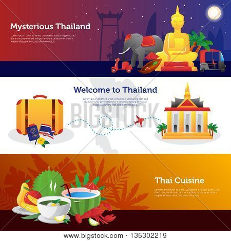 THailand for travelers webpage design with information on transportation thai cuisine and sightseeing abstract isolated vector illustration
