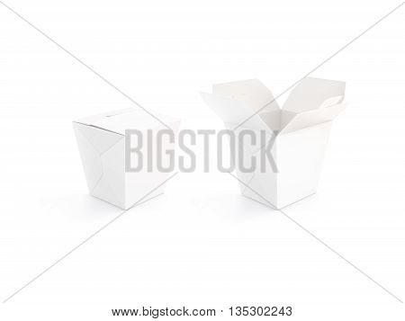 Close and open blank wok box mockup stand isolated 3d rendering. Empty clear noodle carton box mock up. Asian take away food paper box template.