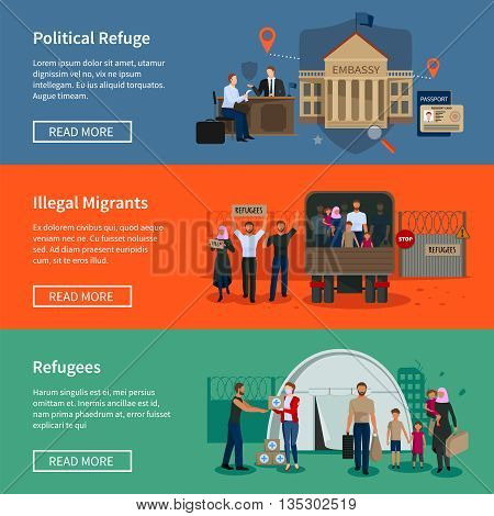 Stateless refugees flat horizontal banners set with illegal muslim migrants escaped from war and political migrants seeking asylum vector illustration