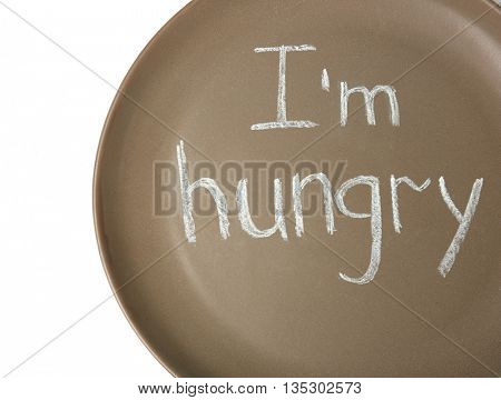 Plate with text I'M HUNGRY closeup