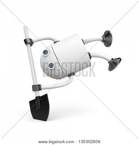 Robot with shovel. 3d illustration