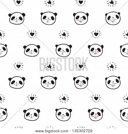 Seamless pattern with cute pandas, hearts and stars. Wrapping paper, cloth. Vector