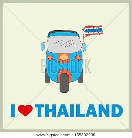 Thai traditional Tuk Tuk of Thailand, i Love Thailand, Vector