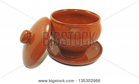 Brown pot from clay. Isolated on white background