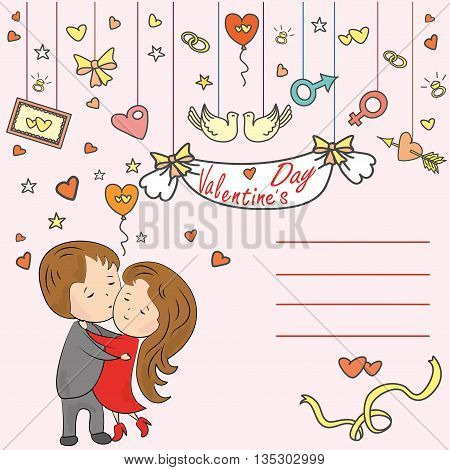 Greeting card, love tree, loving couple and a place for an inscription, vector illustration