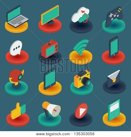 Media isometric icons on round bases with gadgets game controller mail on black background isolated vector illustration