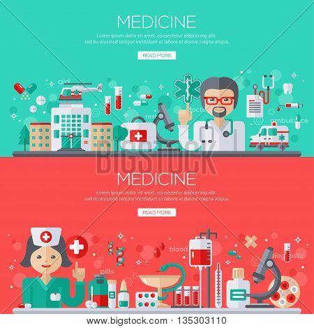 Flat design vector illustration concept of medicine. Doctor and nurse with medical supplies, banners set.