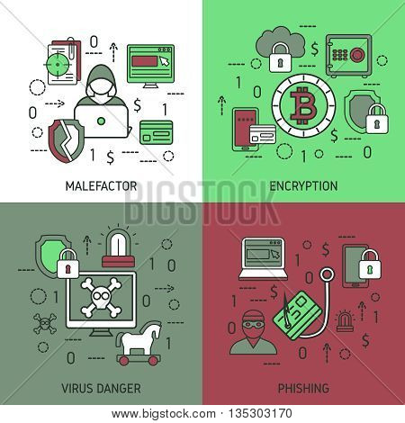 Internet security square icon set with descriptions of malefactor virus danger and phishing vector illustration