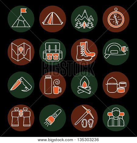 Mountain climbing linear round icon set on hiking theme and accessories for tourism on black background vector illustration