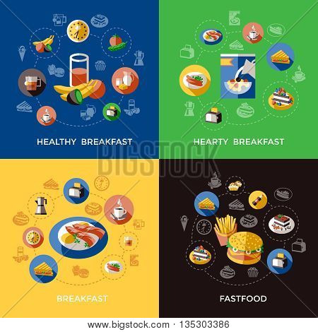Cereal icon set with descriptions of healthy hearty  breakfast and fastfood vector illustration
