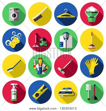 Flat circle colored and isolated cleaning icon set with tools for washing and cleaning vector illustration