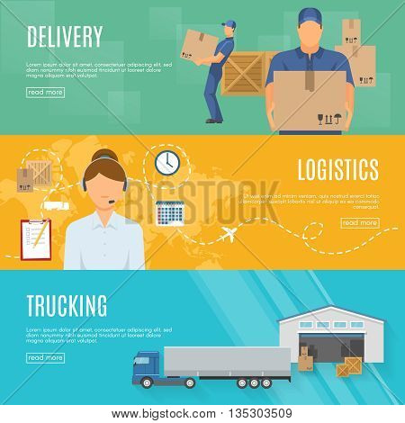 Logistics horizontal flat banners set with goods delivery call center shipment and trucking isolated vector illustration