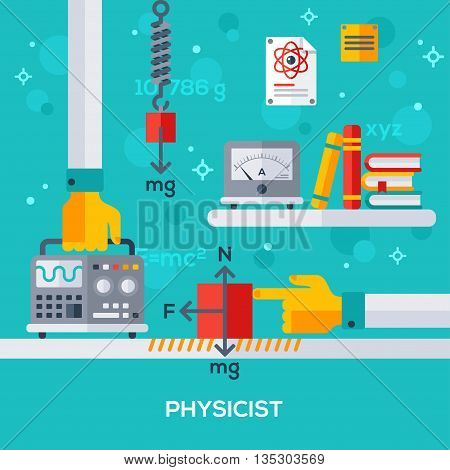 Flat design vector illustration concept of physicist workplace. Hand holding oscilloscope. Physical laws, friction force, gravity. Books and amperemeter.