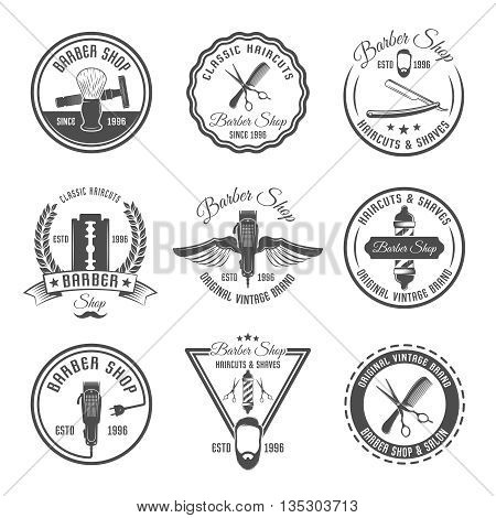 Gray barber emblem or label set with different shapes and hairdressing tools vector illustration