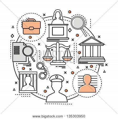 Line Art judicial concept components of the judicial system in the circle vector illustration