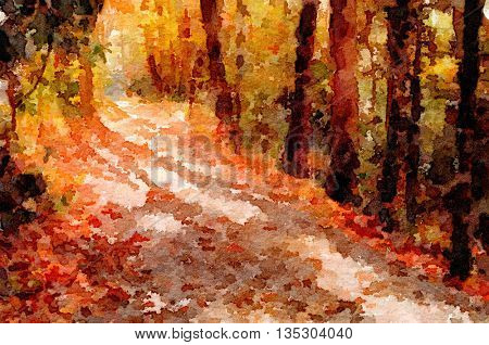 Nice original Painting of a path through the forest