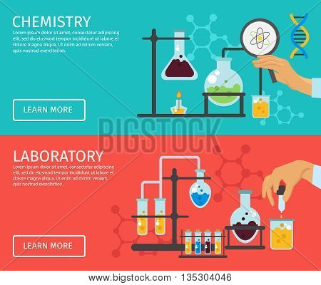 Two horizontal professor of chemistry flat banner set with descriptions of chemistry and laboratory and buttons vector illustration
