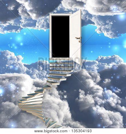 Stairway leads to door in sky 3D Render