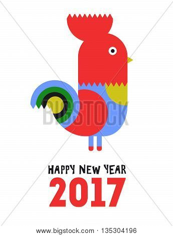 Happy New Year of the red Rooster, greeting card. Vector illustration