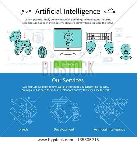 Two artificial intelligence banner set with green button and blue banner our services vector illustration
