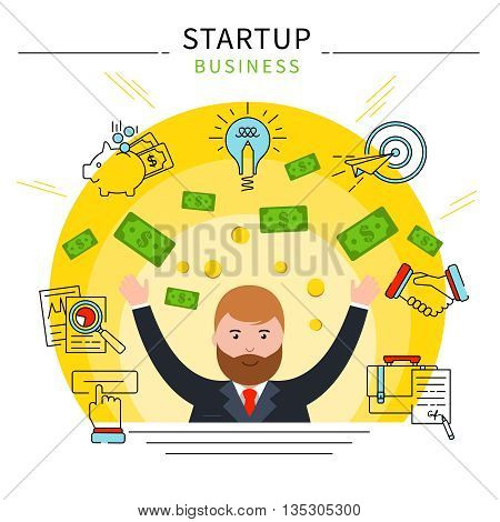 Startup business line concept businessman awash in cash after successful perfect deal vector illustration