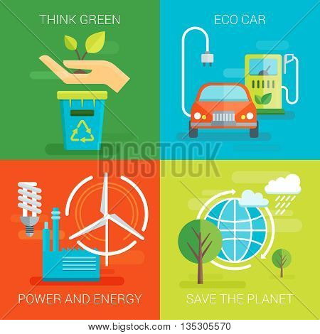 Ecology flat compositions with think green eco car save planet safe power and energy isolated vector illustration