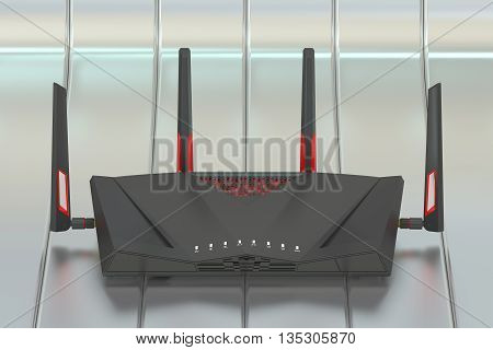 Dual-Band Wireless internet router 3D rendering isolated on silver background
