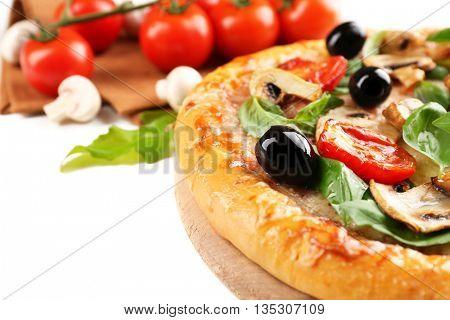 Delicious tasty pizza, closeup