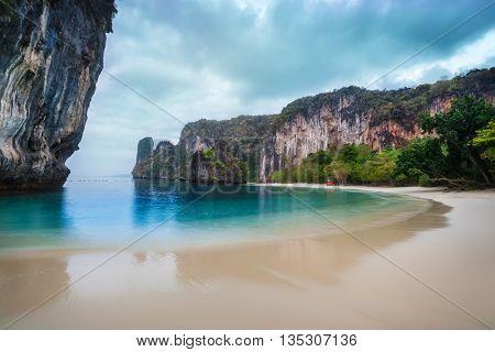 Perfect sandy beach on island of Koh hong, Krabi province, Thailand