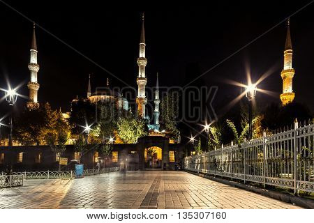 Sultan Ahmed Mosque at night. Istanbul, Turkey