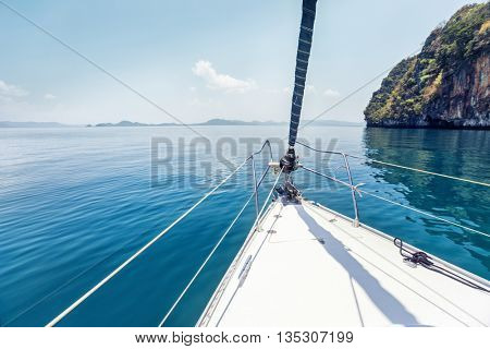 Bow of the sail boat in the calm sea