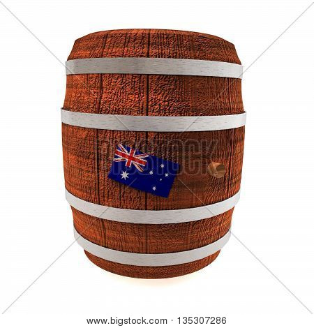 Barrel Of Wine With Australia Flag