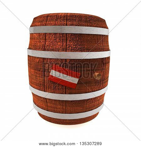 Barrel Of Wine With Austria Flag