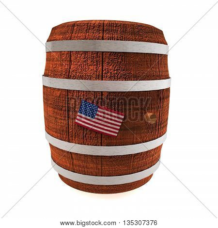 Barrel Of Wine With Usa Flag