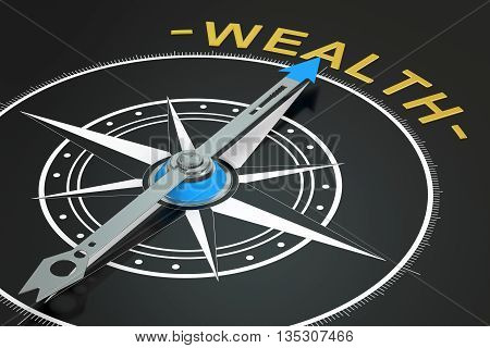 Wealth compass concept 3D rendering on black background
