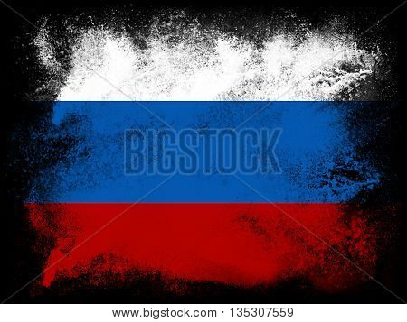 Powder paint exploding in colors of Russian Federation flag isolated on black background. Abstract particles explosion of colorful dust.