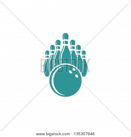 Bowling logo design mockup isolated graphic sport icon sports equipment bowl and pins object