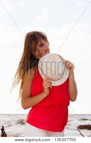 Charming Young Lady On Beach.