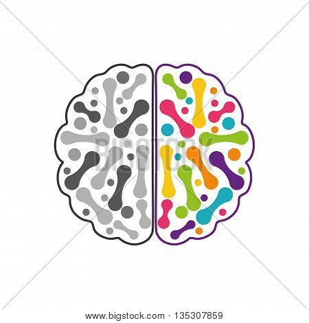Brain concept represented by Human organ icon over flat and isolated background