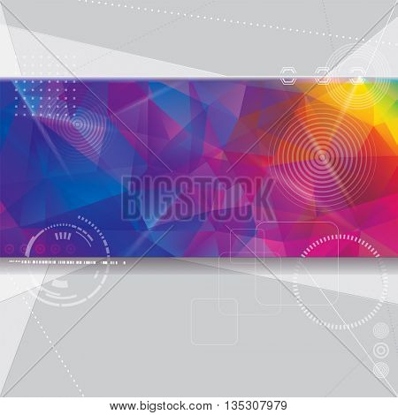 Abstract technology design with colorful geometric shapes background.