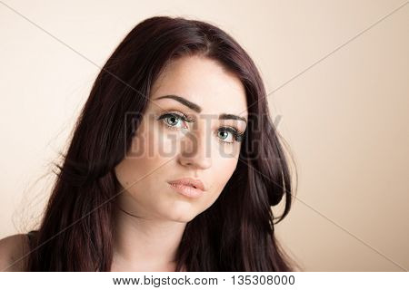 Close up face of beautiful young woman
