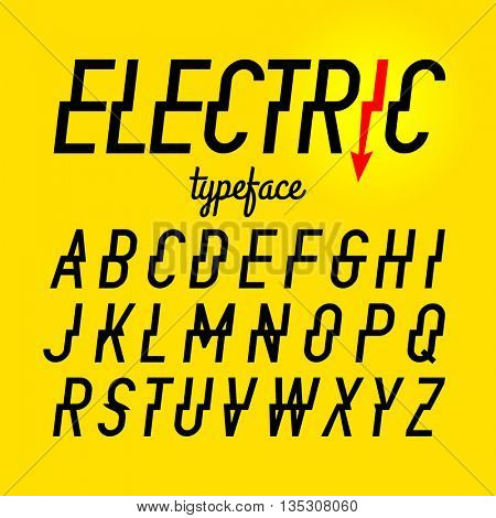 Electric style typeface vector illustration