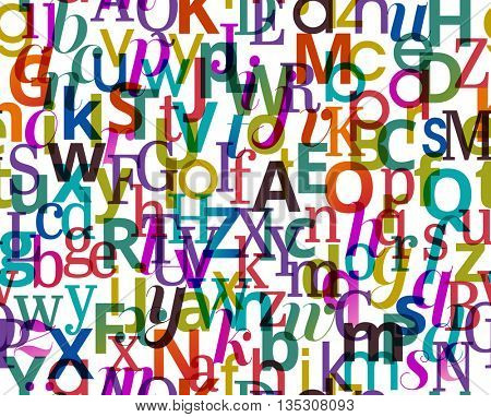 Colorful seamless background pattern with character from the alphabet, eps10 vector