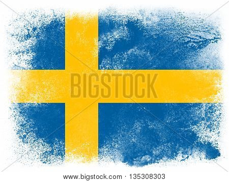 Powder paint exploding in colors of Sweden flag isolated on white background. Abstract particles explosion of colorful dust.
