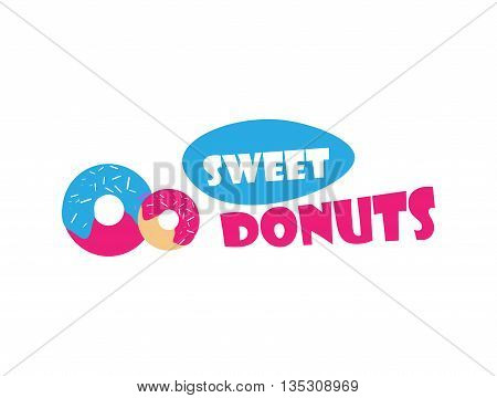 Vector donut icon. Sugar donut illustration. Glazed sweet donut with topping. Donut logo for bakery menu, cafe, restaurant. Emblem template